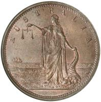 obverse of 1 Penny - John Martin Adelaide, South Australia (1863) coin with KM# Tn159 from Australia. Inscription: AUSTRALIA