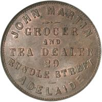 reverse of 1 Penny - John Martin Adelaide, South Australia (1863) coin with KM# Tn159 from Australia. Inscription: JOHN MARTIN GROCER AND TEA DEALER 29 RUNDLE STREET ADELAIDE