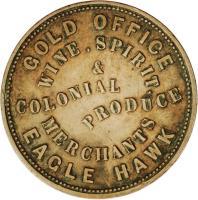 obverse of 1 Penny - J. W. & G. Williams - Eaglehawk, Victoria (1857) coin with KM# Tn272 from Australia. Inscription: GOLD OFFICE WINE , SPIRIT COLONIAL PRODUCE MERCHANTS EAGLE HAWK