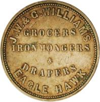 reverse of 1 Penny - J. W. & G. Williams - Eaglehawk, Victoria (1857) coin with KM# Tn272 from Australia. Inscription: J.W. & G. WILLIAMS GROCERS IRON MONGERS & DRAPERS EAGLE HAWK