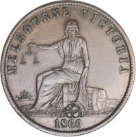 obverse of 1/2 Penny - John Andrew & Co. - Melbourne, Victoria (1860) coin with KM# TnA11 from Australia. Inscription: MELBOURNE VICTORIA 1860