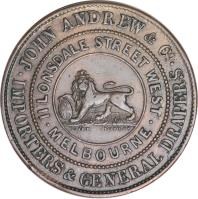 reverse of 1/2 Penny - John Andrew & Co. - Melbourne, Victoria (1860) coin with KM# TnA11 from Australia. Inscription: JOHN ANDREW & Co. · IMPORTERS & GENERAL DRAPERS · II LONSDALE STREET WEST · MELBOURNE · COARD LONDON