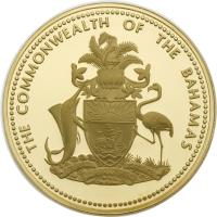obverse of 2500 Dollars - Elizabeth II (1974 - 1977) coin with KM# 75 from Bahamas. Inscription: THE COMMONWEALTH OF THE BAHAMAS FORWARD_ UPWARD, ONWARD TOGETHER