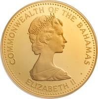 obverse of 2500 Dollars - Elizabeth II - Independence (1983) coin with KM# 101 from Bahamas. Inscription: COMMONWEALTH OF THE BAHAMAS · ELIZABETH II ·
