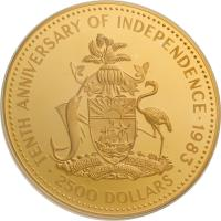 reverse of 2500 Dollars - Elizabeth II - Independence (1983) coin with KM# 101 from Bahamas. Inscription: TENTH ANNIVERSARY OF INDEPENDENCE - 1983 FORWARD, UPWARD, ONWARD TOGETHER (CHI) · 2500 DOLLARS ·