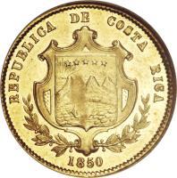 obverse of 1 Escudo (1850 - 1855) coin with KM# 98 from Costa Rica. Inscription: REPUBLICA DE COSTA RICA 1850