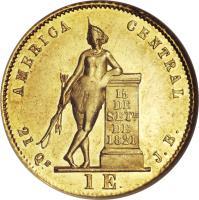 reverse of 1 Escudo (1850 - 1855) coin with KM# 98 from Costa Rica. Inscription: AMERICA CENTRAL 15 DE SETe DE 1821 21 Qs 1 E J.B.