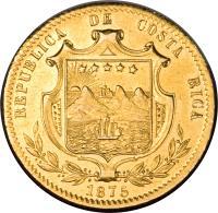 obverse of 5 Pesos (1873 - 1875) coin with KM# 117 from Costa Rica. Inscription: REPUBLICA DE COSTA RICA 1875