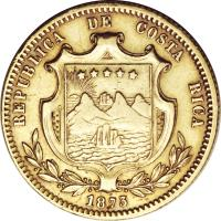 obverse of 5 Pesos (1873) coin with KM# 118 from Costa Rica.