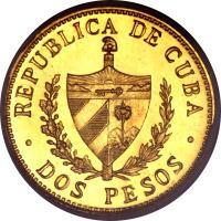 obverse of 2 Pesos - José Martí (1915 - 1916) coin with KM# 17 from Cuba. Inscription: REPUBLICA DE CUBA · DOS PESOS ·