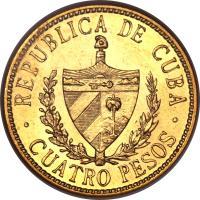 obverse of 4 Pesos - José Martí (1915 - 1916) coin with KM# 18 from Cuba. Inscription: REPUBLICA DE CUBA CUATRO PESOS