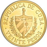 obverse of 20 Pesos - José Martí (1915 - 1916) coin with KM# 21 from Cuba. Inscription: REPUBLICA DE CUBA VEINTE PESOS