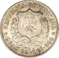 obverse of 5 Francos (1891) coin with KM# 12 from Dominican Republic. Inscription: REPUBLICA DOMINICANA GRAM 25 LEI 900