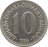 reverse of 10 Dinara (1982 - 1988) coin with KM# 89 from Yugoslavia. Inscription: 10 ДИНАРА · DINARA · DINARJEV · ДИНАРИ · 1983