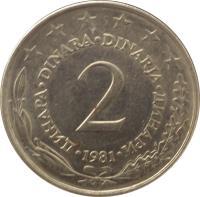 reverse of 2 Dinara (1971 - 1981) coin with KM# 57 from Yugoslavia. Inscription: ДИНАРА DINARA DINARJA ДИНАРИ 2 1973