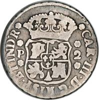 obverse of 2 Reales - Carlos III (1760 - 1771) coin with KM# 25 from Guatemala.