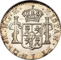 reverse of 1/2 Real - Fernando VII (1808 - 1810) coin with KM# 60 from Guatemala.