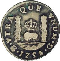 reverse of 1 Real - Fernando VI (1754 - 1760) coin with KM# 16 from Guatemala.