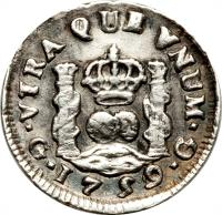 reverse of 1/2 Real - Fernando VI (1754 - 1760) coin with KM# 15 from Guatemala.