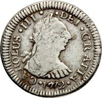 obverse of 1/2 Real - Carlos III (1772 - 1785) coin with KM# 32 from Guatemala.