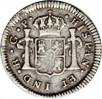 reverse of 1/2 Real - Carlos III (1772 - 1785) coin with KM# 32 from Guatemala.