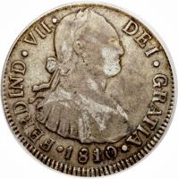 obverse of 2 Reales - Fernando VII (1808 - 1810) coin with KM# 62 from Guatemala.
