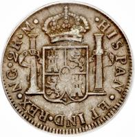 reverse of 2 Reales - Fernando VII (1808 - 1810) coin with KM# 62 from Guatemala.