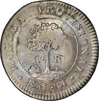 reverse of 1 Real - Provisional Coinage (1829) coin with KM# 75 from Guatemala.