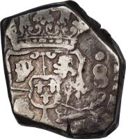 obverse of 8 Reales - Countermarked (1839) coin with KM# 101 from Guatemala.