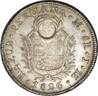 obverse of 8 Reales - Countermarked (1840) coin with KM# 120.2 from Guatemala.