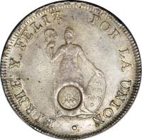 reverse of 8 Reales - Countermarked (1840) coin with KM# 120.2 from Guatemala.