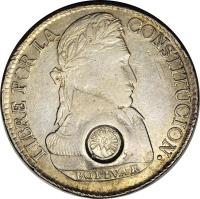 obverse of 8 Reales - Countermarked (1840) coin with KM# 112.1 from Guatemala.