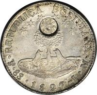 reverse of 8 Reales - Countermarked (1840) coin with KM# 112.1 from Guatemala.