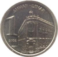 reverse of 1 Dinar (2000 - 2002) coin with KM# 180 from Yugoslavia. Inscription: ДИНАР - DINAR 1 2002