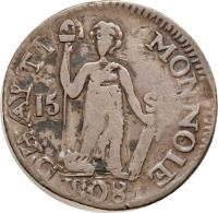 reverse of 15 Sols (1807 - 1809) coin with KM# 6 from Haiti.