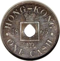 obverse of 1 Cash - Victoria (1863) coin with KM# Pn63 from Hong Kong.