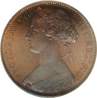 obverse of 1 Cent - Victoria (1863) coin with KM# Pn70 from Hong Kong.