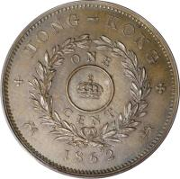 reverse of 1 Cent - Victoria (1862) coin with KM# Pn27 from Hong Kong.