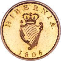 reverse of 1 Penny - George III (1805) coin with SP# 6620a from Ireland. Inscription: HIBERNIA 1805