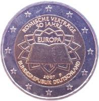 obverse of 2 Euro - Treaty of Rome (2007) coin with KM# 259 from Germany. Inscription: RÖMISCHE VERTRÄGE 50 JAHRE EUROPA 2007 D BUNDESREPUBLIK DEUTSCHLAND