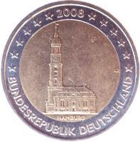 obverse of 2 Euro - Federal States: Hamburg (2008) coin with KM# 261 from Germany. Inscription: HAMBURG G OE BUNDESREPUBLIK DEUTSCHLAND 2008