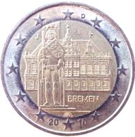 obverse of 2 Euro - Federal States: Bremen (2010) coin with KM# 285 from Germany. Inscription: D A BREMEN 20 10