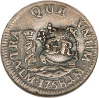 obverse of 5 Pence - Counterstamped (1757 - 1758) coin with KM# 1.3 from Jamaica.