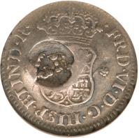 reverse of 5 Pence - Counterstamped (1757 - 1758) coin with KM# 1.3 from Jamaica.