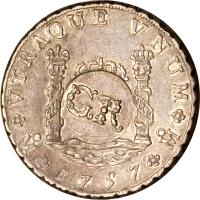 obverse of 6 Shillings 8 Pence - Counterstamped (1757 - 1758) coin with KM# 8.2 from Jamaica.