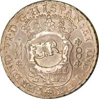 reverse of 6 Shillings 8 Pence - Counterstamped (1757 - 1758) coin with KM# 8.2 from Jamaica.