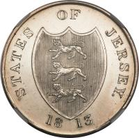 obverse of 3 Shillings - Bank Token (1813) coin with KM# Tn6 from Jersey. Inscription: STATES OF JERSEY 18 13