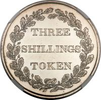 reverse of 3 Shillings - Bank Token (1813) coin with KM# Tn6 from Jersey. Inscription: THREE SHILLINGS TOKEN