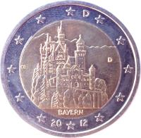 obverse of 2 Euro - Federal States: Bayern (2012) coin with KM# 305 from Germany. Inscription: D A OE BAYERN 20 12