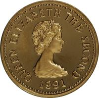 obverse of 1 Pound - Elizabeth II - Tickler (1991) coin with KM# 84b from Jersey. Inscription: QUEEN ELIZABETH THE SECOND 1991